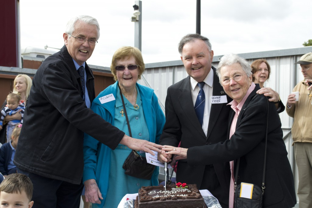 Current Shopfront director Brian Tierney and predecessors Sr Claude McNamara, Br Peter Negus and Sr Theresa Daly. PHOTO Sarah Motherwell