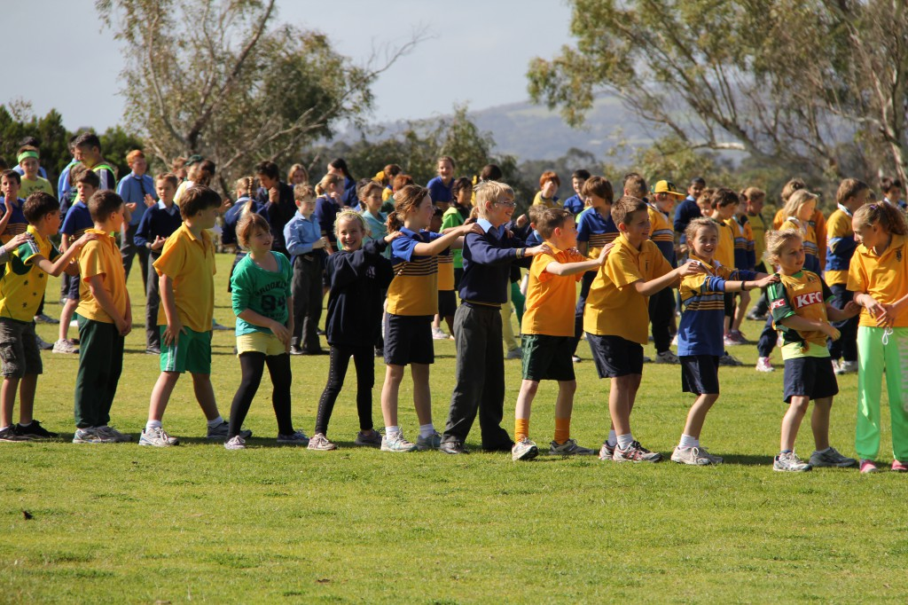 Students of St Joseph's College Cunningham House participating in the All School Tunnel Ball to raise money for charity.