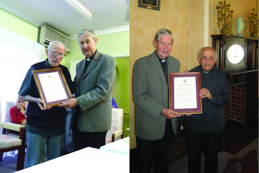 Father Magni and Father Nanni being presented with a special certificate of honour for 70 years in the priesthood.