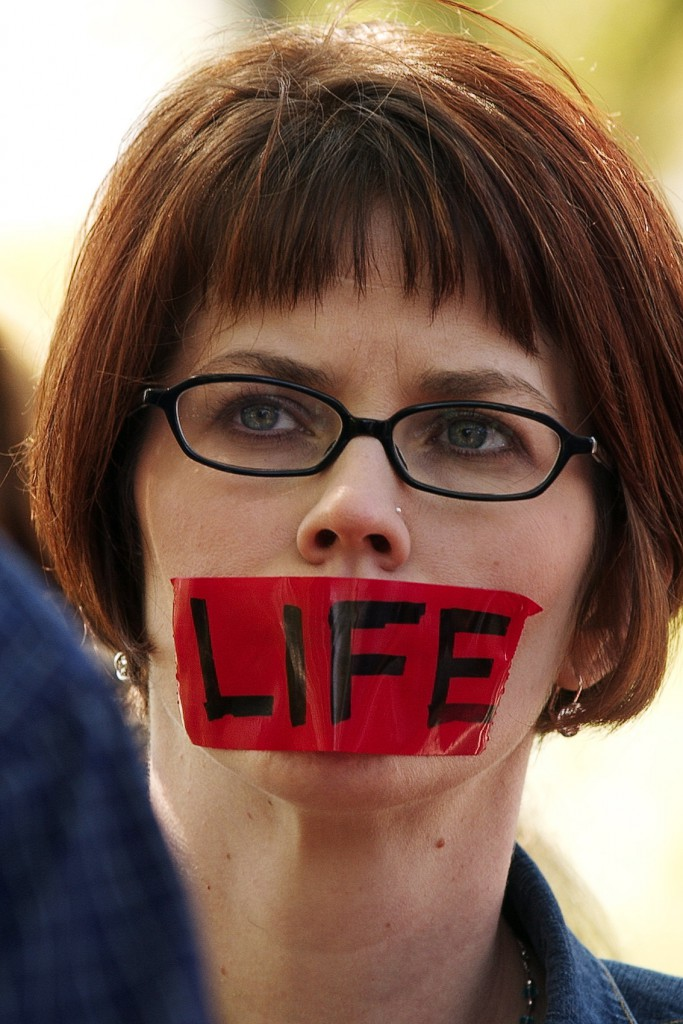 Kelsey Bohlender takes part in a silent protest March 18 in support of Schiavo on a day her feeding tube was to be removed.