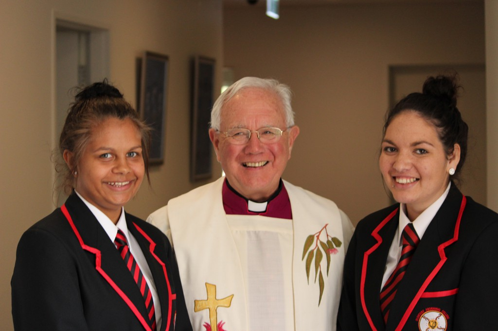 Happy faces all round: Monsignor Michael Keating blessed the new boarding facility.