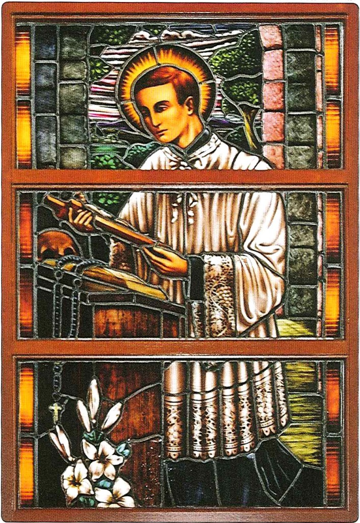The stained glass window depicting St Aloysius in the Church.