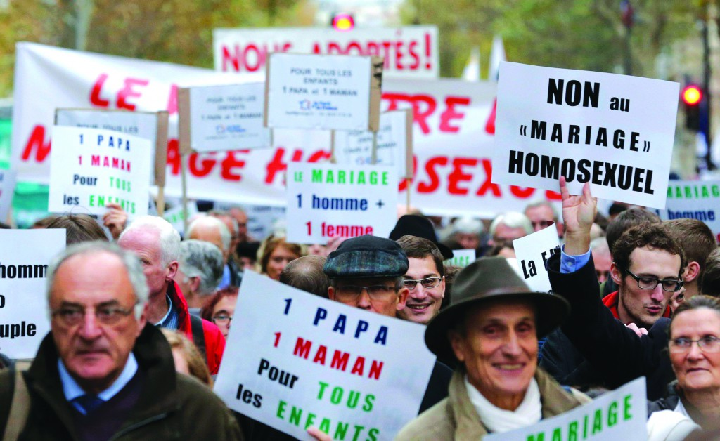Opponents of same-sex marriage demonstrate in Paris on November 18 against the French government's draft law to legalise marriage and adoption for same-sex couples.