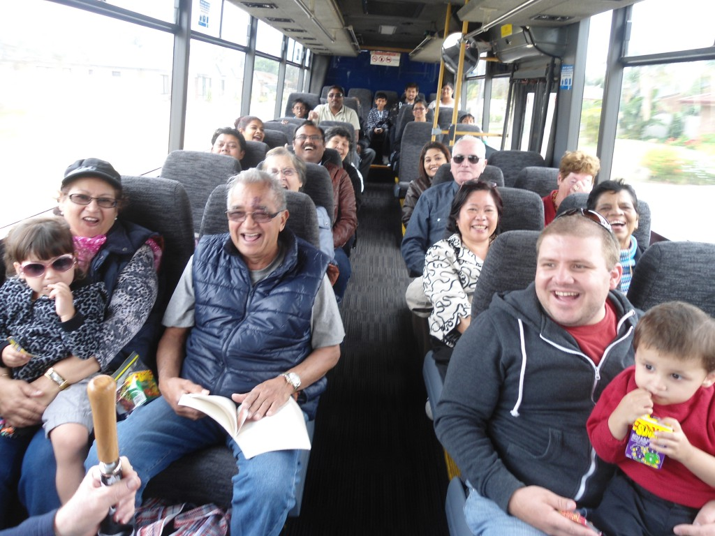 Parishioners enjoyed the convivial bus ride to their picnic and the Spring weather.