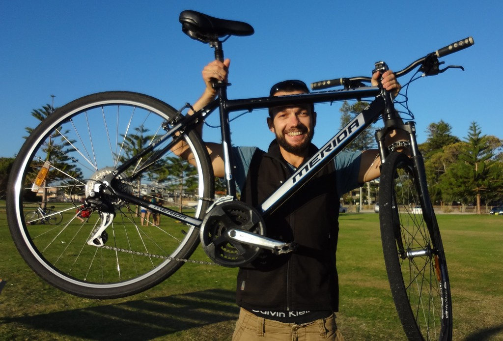 Frenchman Bruno Cordier, above, will cycle across Australia in the New Year to raise funds to combat preventable maternal death.