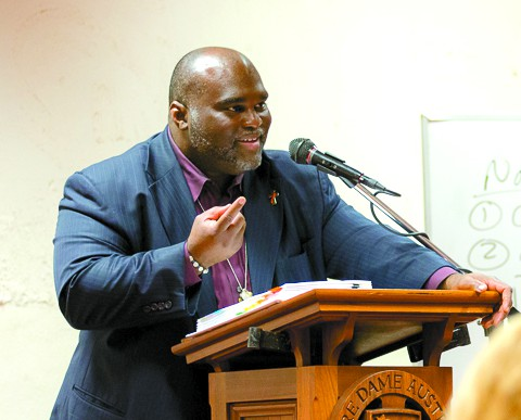 Deacon Harold Burke-Sivers of EWTN fame spoke to hundreds at the Univeristy of Notre Dame in Fremantle on October 15 during his Perth visit. PHOTO: M Connelly