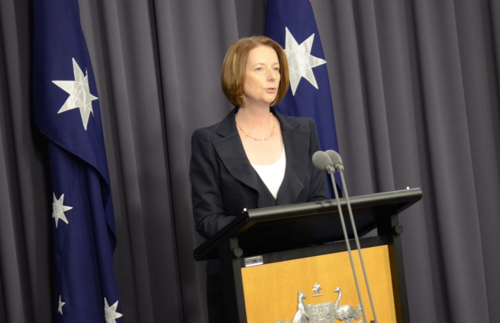 Prime Minister Julia Gillard at press conference announcing the Royal Commision.