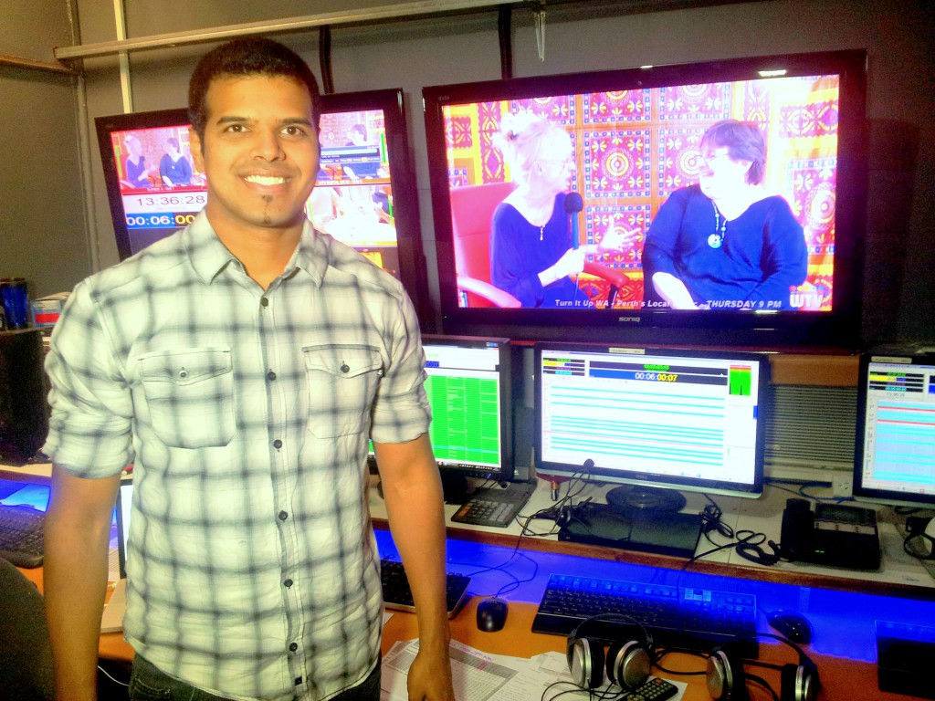 Warren Masilamony in the studios of WTV, the Perth community television station.