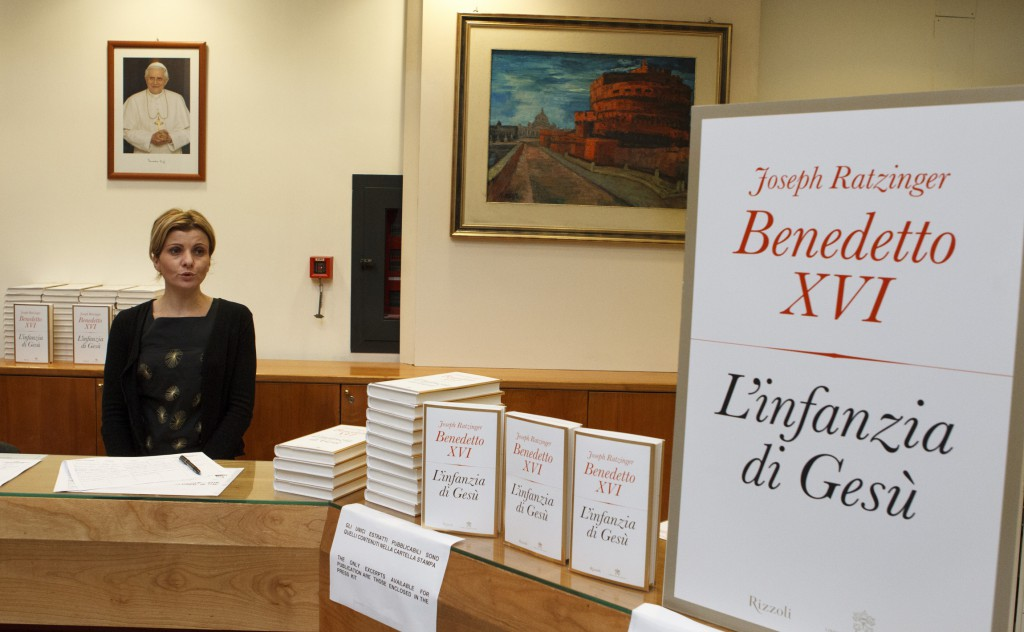 """Copies of the Italian version of Pope Benedict XVI's new book, """"The Infancy of Jesus,"""" are seen during their release to journalists on November 20 at the Vatican press office."""