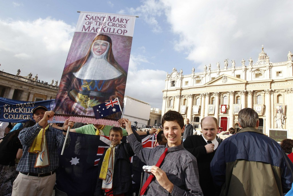 Australian pilgrims celebrate Mary MacKillop's canonisation in October 2010. PHOTO: CNS/Reuters