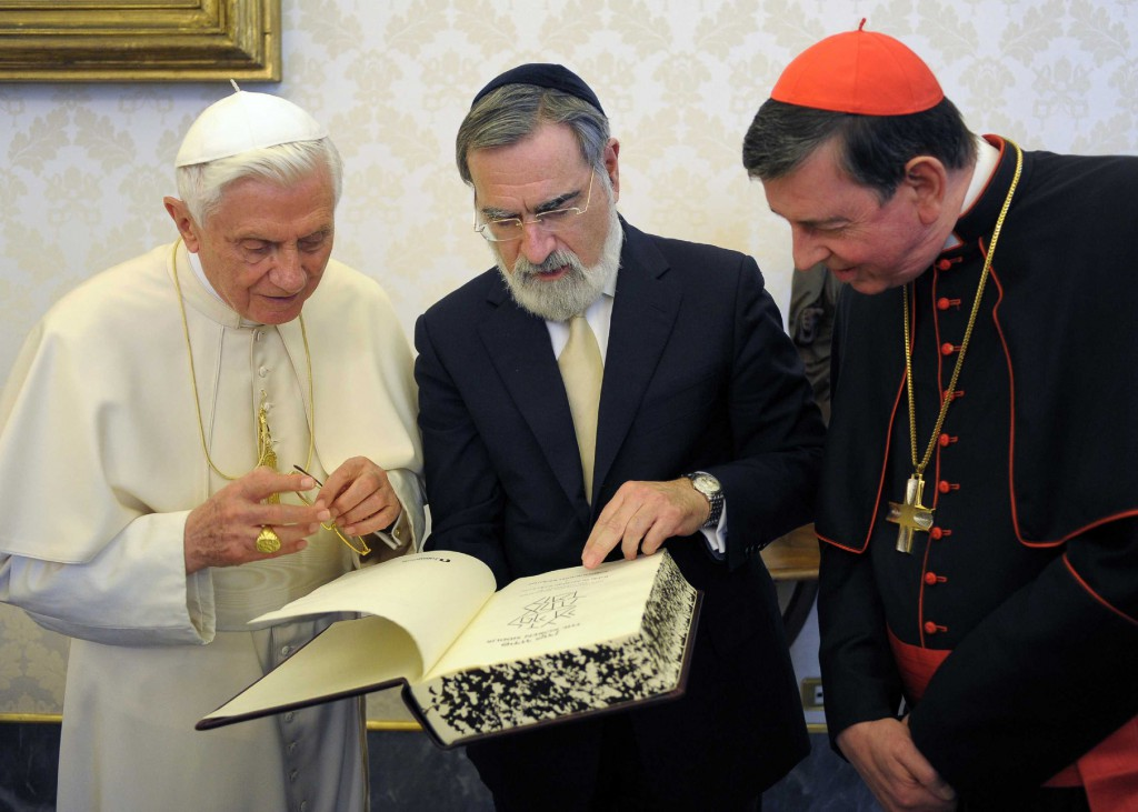 Pope Benedict XVI, Lord Jonathan Sacks, Chief Rabbi of the United Hebrew Congregations of the Commonwealth, and Swiss Cardinal Kurt Koch are pictured in 2011 at the Vatican. PHOTO: CNS/L'Osservatore Romano via Reuters