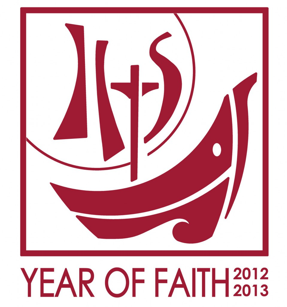 "This is the English version of the 2012-2013 Year of Faith logo. The logo features a boat, which is a traditional symbol for the church. Its main mast is the cross and, with the sails, it forms the initials IHS, the ""Christogram"" standing for Jesus, savior of men. Behind the IHS, the sun evokes a eucharistic host. PHOTO: CNS"