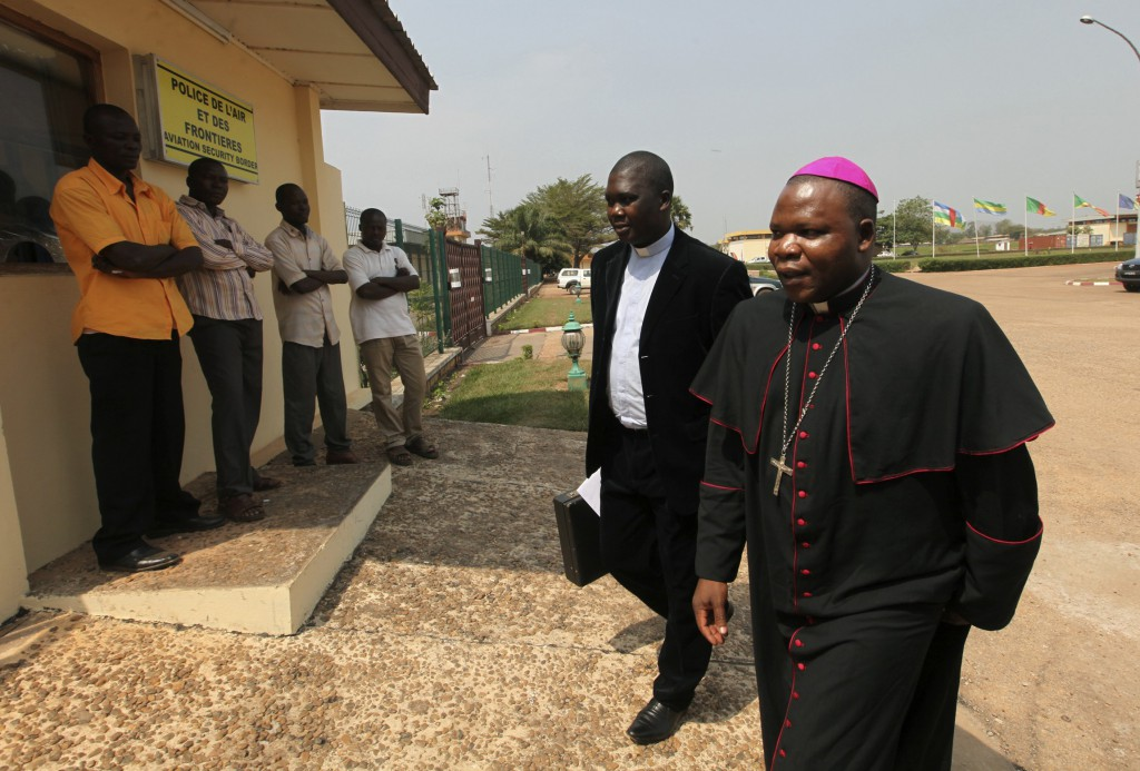 Archbishop Dieudonne Nzapalainga of Bangui, Central African Republic, arrives at Bangui airport for his departure to Gabon. PHOTO: CNS/Reuters