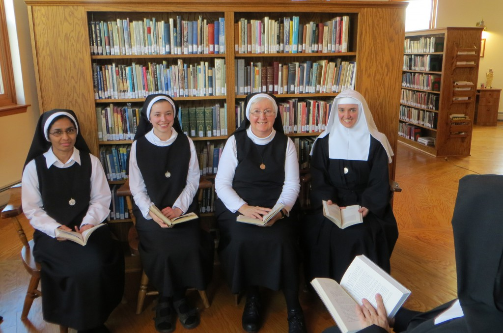 Visitation Sisters Anna Thannical, Jennifer Mendenhall, Bernadette Heffernan and Joanna Armstrong at the Visitation Monastery, Massachusetts. PHOTO: CNS/Peggy Weber, Catholic Communications Corporation