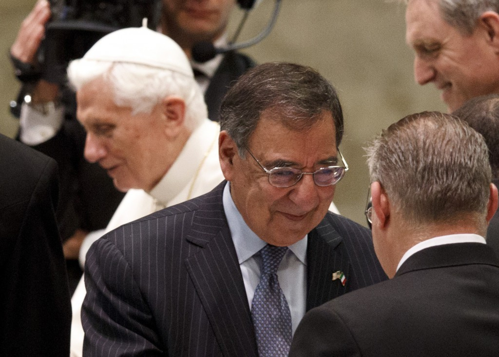 US Defence Secretary Leon Panetta smiles after meeting Pope Benedict XVI on January 16. PHOTO: CNS/Paul Haring