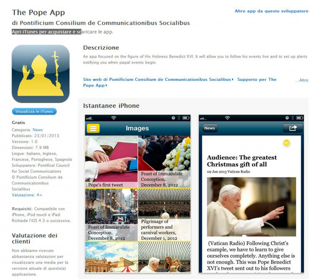 "This is a screen capture of ""The Pope App,"" launched by the Vatican Jan. 23, the eve of Pope Benedict XVI's World Communications Day message. PHOTO: CNS/Vatican"