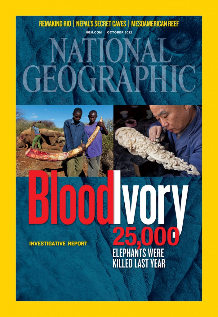 "This is the cover of the October 2012 issue of National Geographic, which featured an article titled ""Ivory Worship"" about how the use of objects made of ivory in the devotions of many religions, not just Catholicism, are contributing to the slaughter of elephants in Africa. PHOTO: CNS/National Geographic"