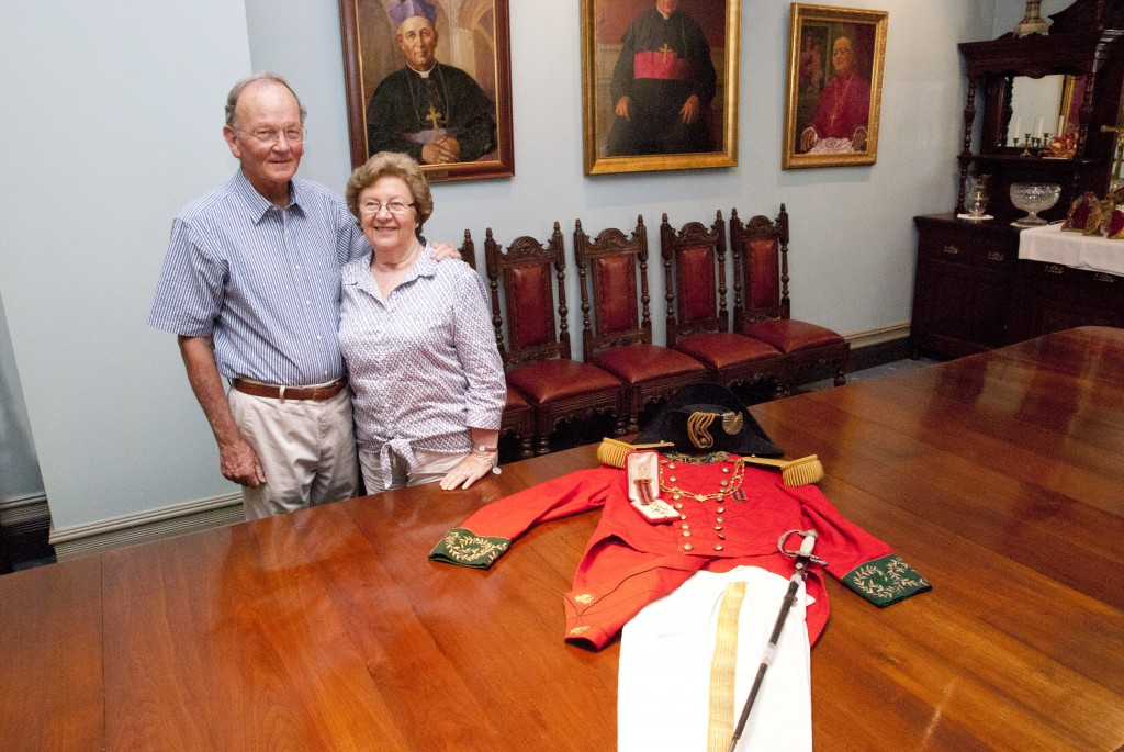 Tony and Pamela Quinlan with the late Timothy Quinlan's Order of St Sylvester uniform. PHOTO: Robert Hiini