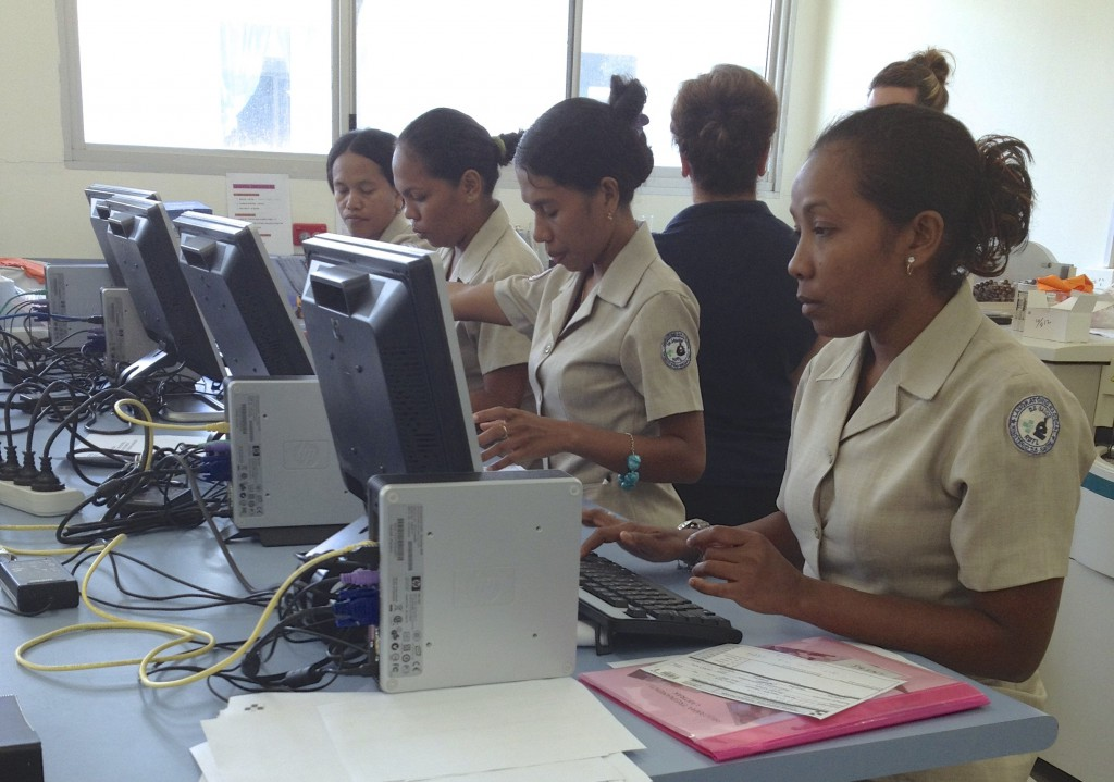 East Timor hospital staff learn to use the new information streamlining system, LabTRAK. PHOTO: Courtesy SJOG