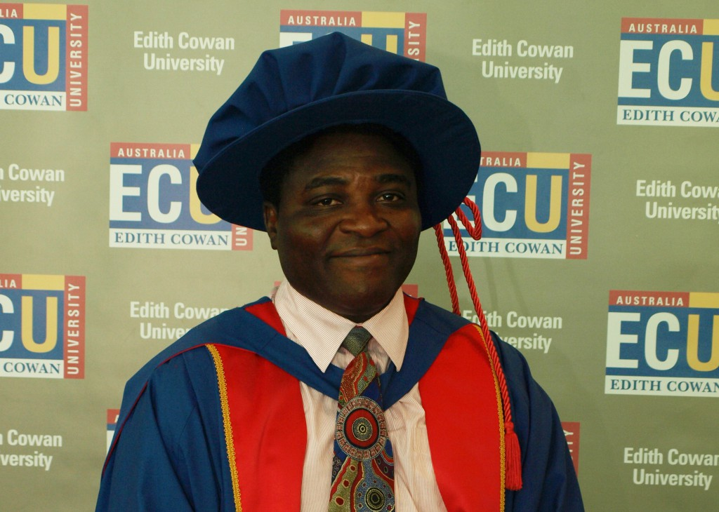 Fr Erasmus Norviewu-Mortty at his graduation from Edith Cowan University.