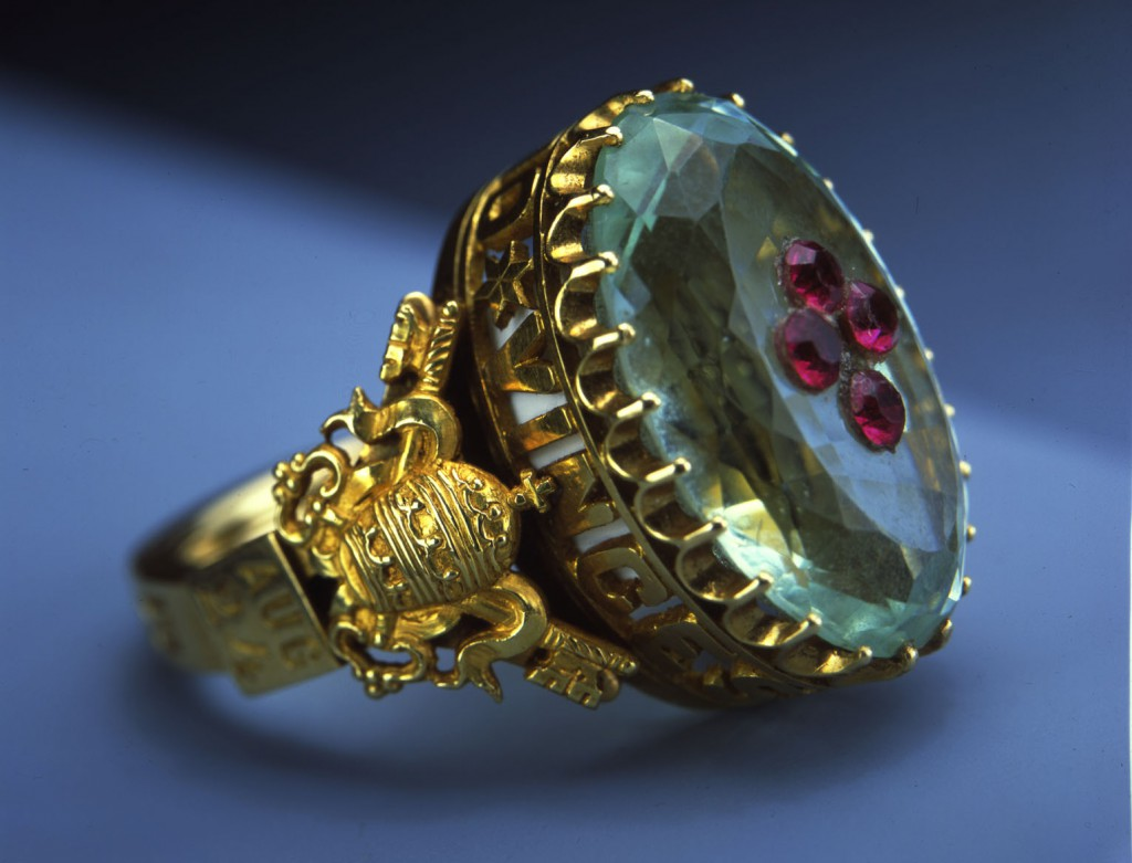 The ring belonging to Pope Pius IX is made of gold, aquamarine and red garnet. It is part of an exhibit of Vatican art treasures on tour in 2004 in the United States. PHOTO: CNS/Clear Channel Exhibitions