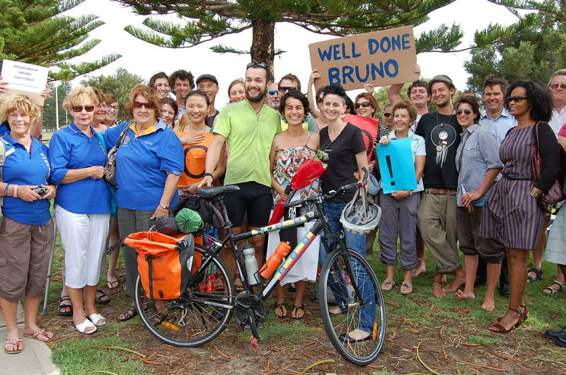 Bruno Cordier arrives in Fremantle on February 14 after cycling from Sydney to Perth raising money to prevent obstetric fistula.