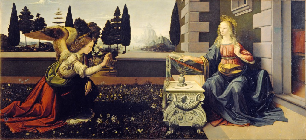 This is a painting of the traditional subject of the Annunciation, by the Italian Renaissance artists Leonardo da Vinci and Andrea del Verrocchio, dating from circa 1472–1475 and housed in the Uffizi Gallery of Florence, Italy.