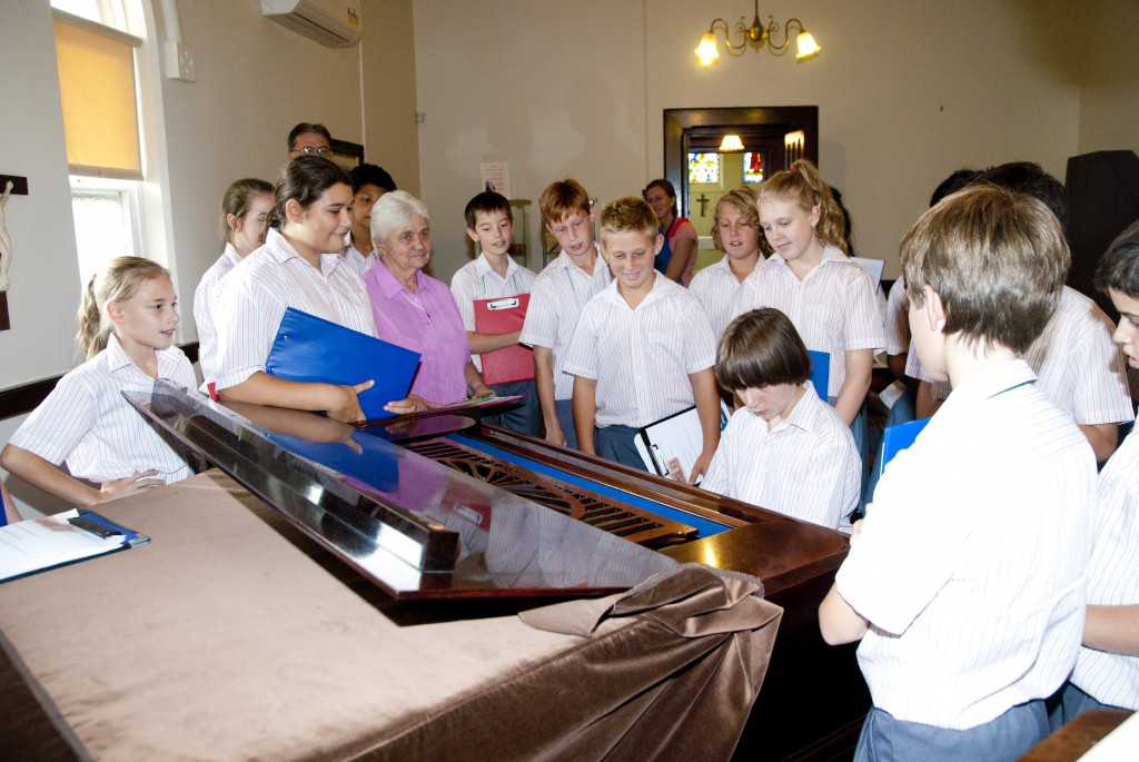 Sr Joan Smith RSM taking Year 7 students from Ursula Frayne College around the Mercy Heritage Centre last week. PHOTO: Matthew Biddle