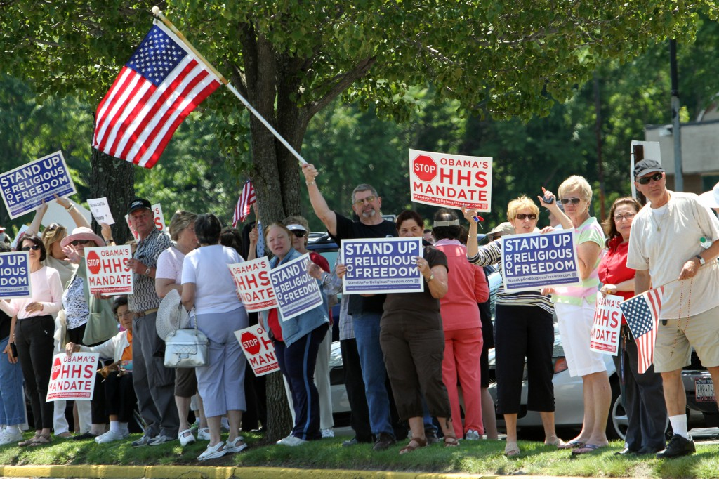 People participate on June 8 in a rally in support of religious freedom in Garden City, N.Y. PHOTO: CNS/Gregory A. Shemitz, Long Island Catholic