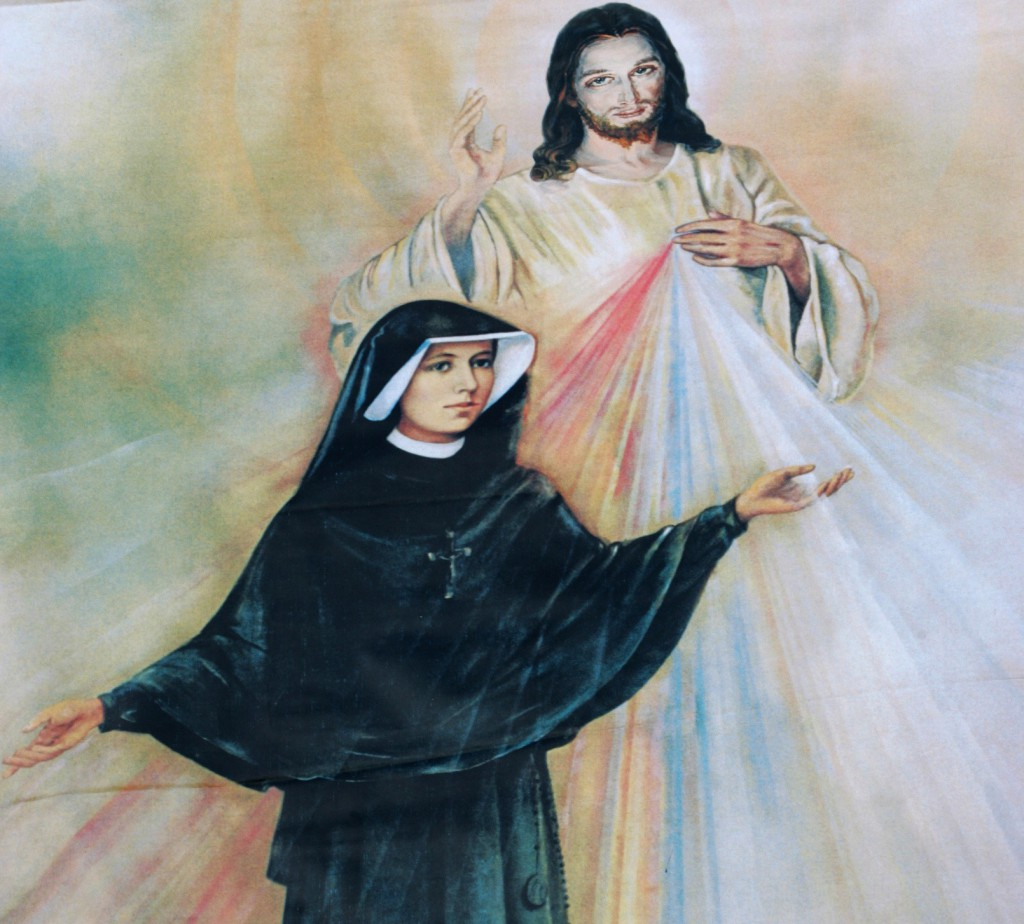 Polish Sister St. Faustina Kowalska is depicted with an image of Jesus Christ the Divine Mercy. Sauk Centre, Minn., is celebrating 31 years of being dedicated to the Divine Mercy, which came about through the efforts of four Catholic men who live in the community. PHOTO: CNS/Nancy Wiechec