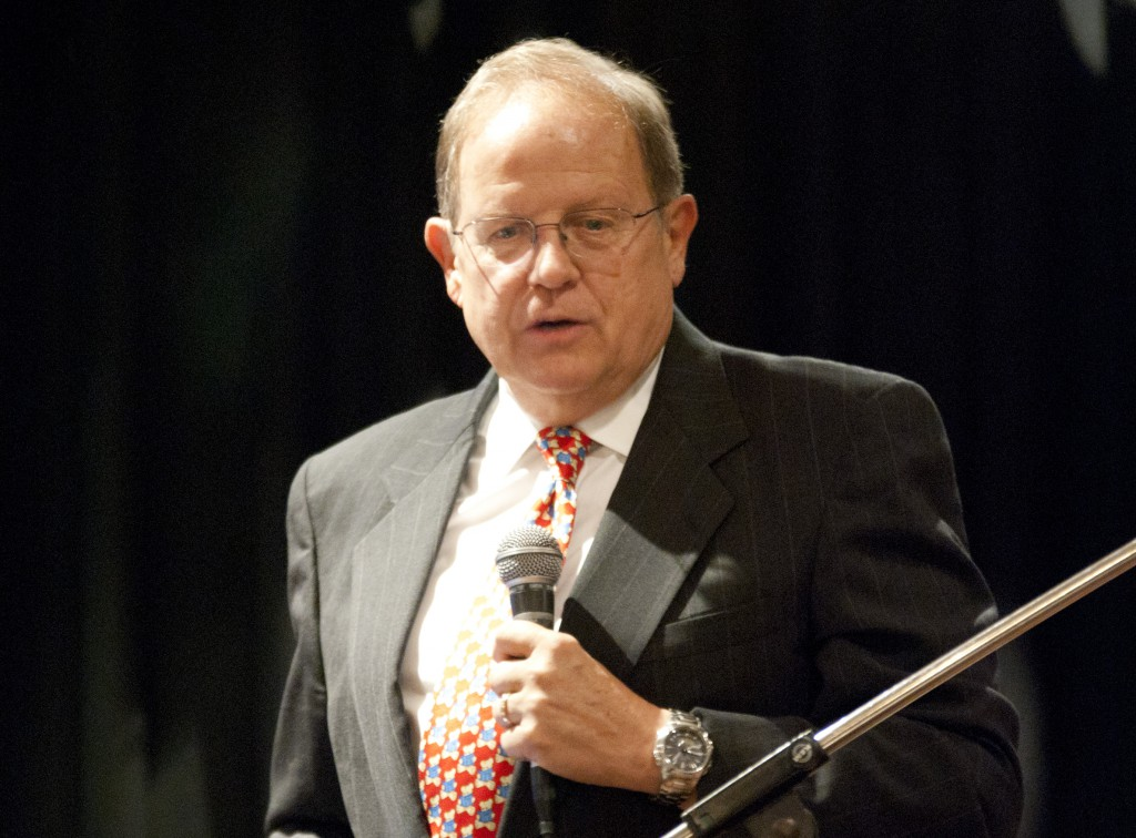 Movie Guide founder and family-friendly media advocate Dr Ted Baehr speaks at the Dawson Society's speaker's forum last Thursday.PHOTO: Robert Hiini