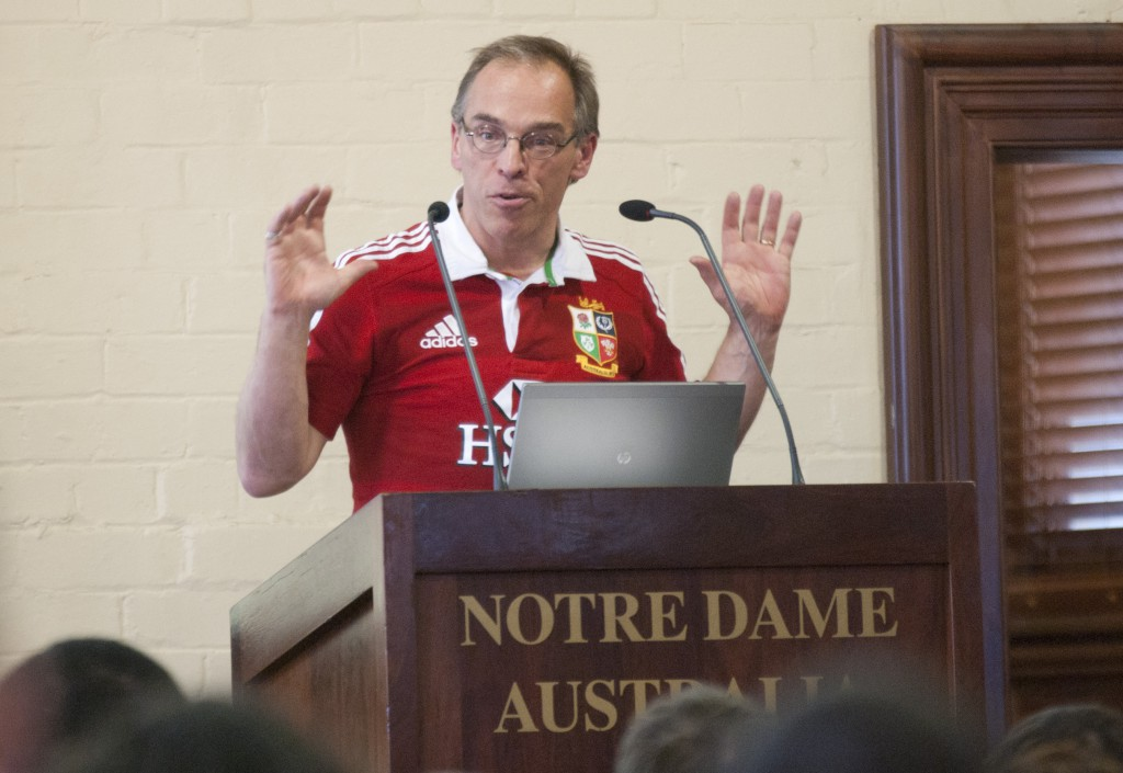 British philosopher Timothy Chappell speaking at the University of Notre Dame's Tradition Conference which took place from July 2-5 in Notre Dame campus in Sydney. PHOTO: Robert Hiini