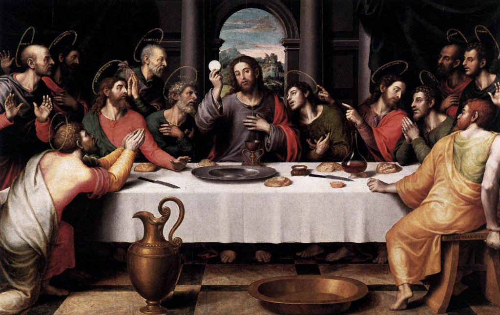 Painted  by Juan de Juanes for the base of the main altarpiece of San Esteban in Valencia, this composition appears to be based on the famous work that Leonardo da Vinci painted for the refectory of Santa Maria delle Grazie in Milan, although the modeling of the figures and the palette recall Raphael.