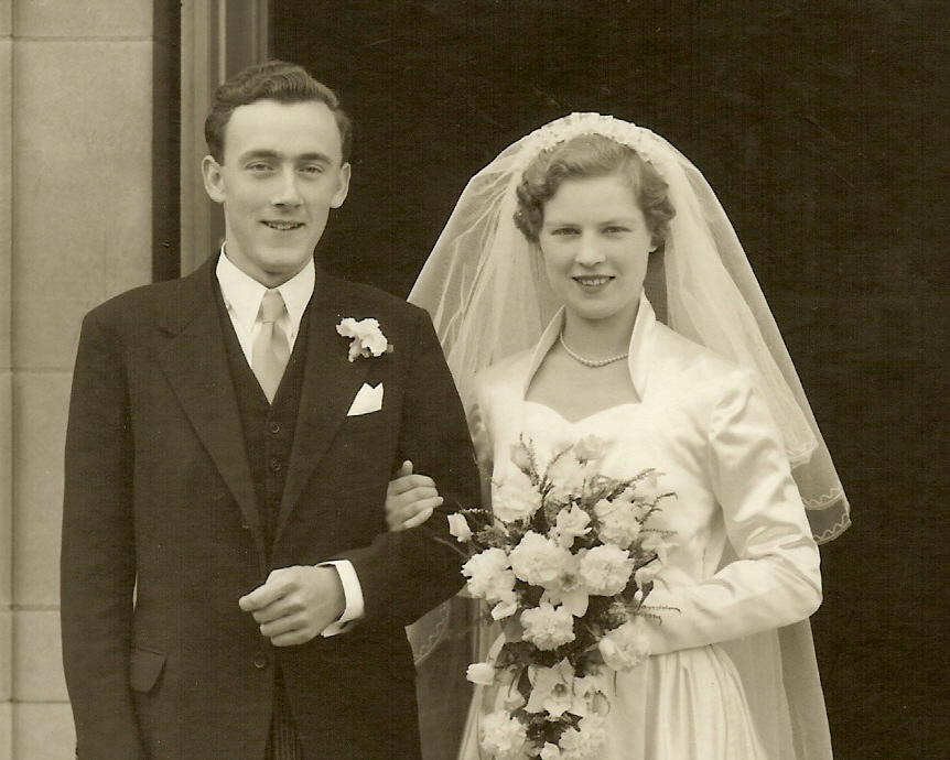 The Wedding Portrait taken at John Rogers and Mary (nee Roebuck) Wedding in 1953 at Wolverhampton in the UK.