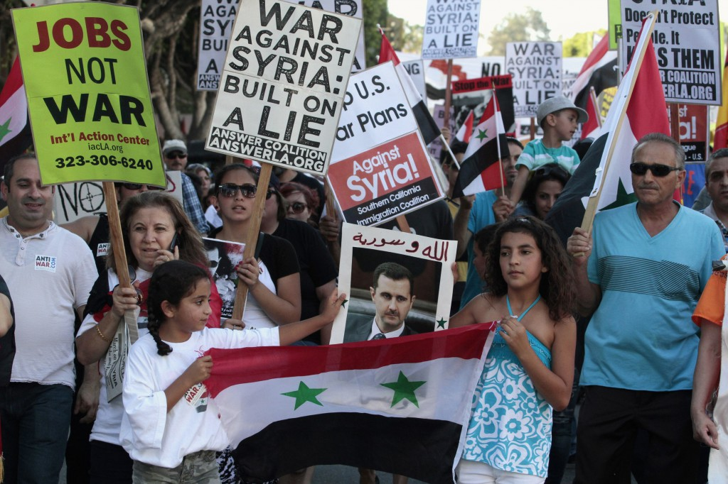 Protesters march during a rally in Los Angeles Sept. 7 against U.S. airstrikes against Syria. PHOTO: CNS/Jonathan Alcorn, Reuters