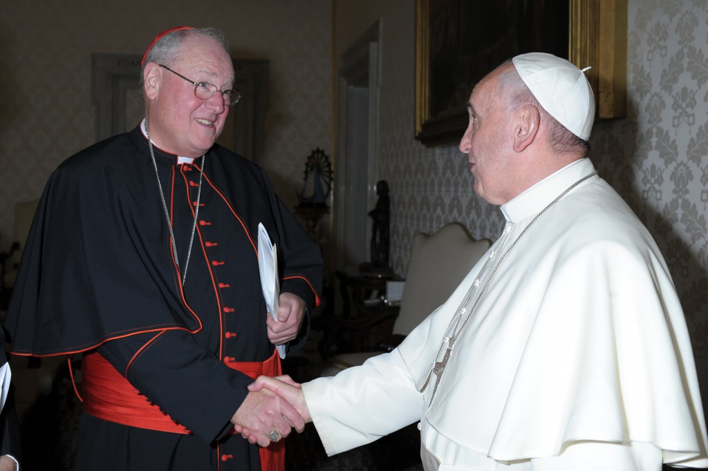 Pope Francis greets New York Cardinal Timothy M. Dolan, president of the U.S. Conference of Catholic Bishops, at the Vatican Oct. 7. Leaders of the USCCB were at the Vatican for an annual meeting. PHOTO: CNS/L'Osservatore Romano