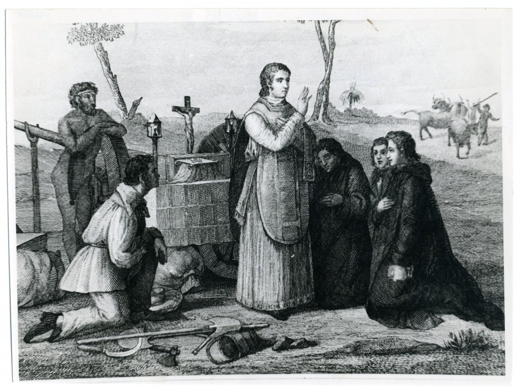 A 19th-century depiction of the first Mass celebrated by the Benedictine missionaries, on top of a cart in the middle of the Western Australian bush.PHOTO: Courtesy Benedictine Community of New Norcia