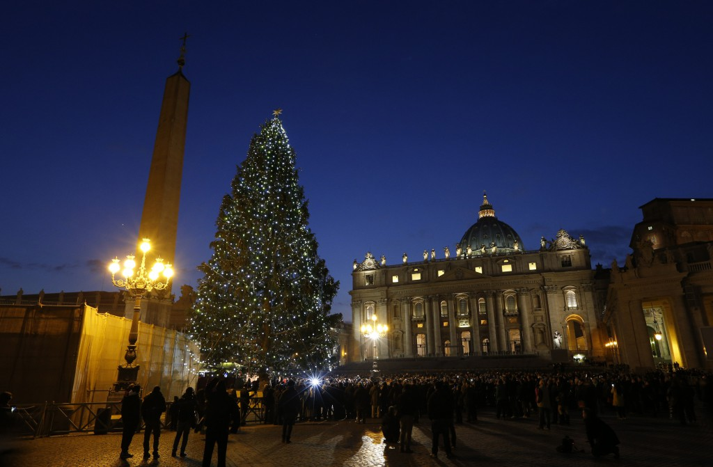 The Vatican Christmas tree glows after a lighting ceremony on Dec. 13 in St. Peter's Square. PHOTO: CNS/Paul Haring