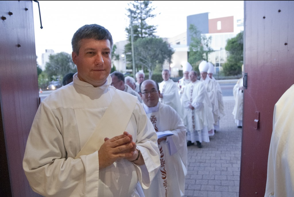 Fr Stephen Hill at his ordination to the Catholic priesthood at St Joseph's Subiaco earlier this year.