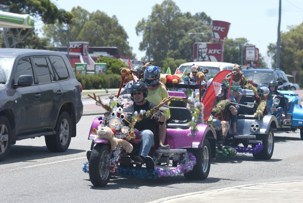 Motorcyclists covered their bikes in tinsel and Christmas decorations for the Mandurah Motorcycle Charity Ride on December 14. PHOTO: MATTHEW BIDDLE