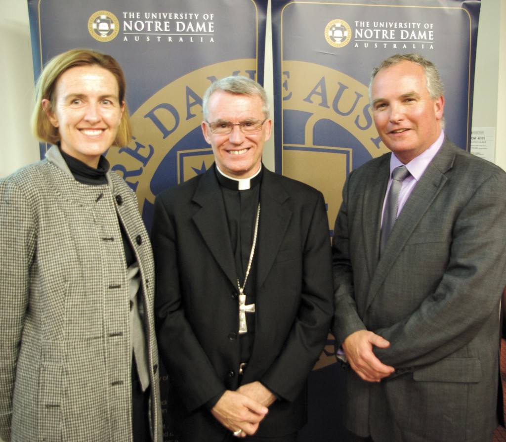 Vice Chancellor of Notre Dame, Celia Hammond, with Archbishop of Perth, Timothy Costelloe SDB and WA Director of Catholic Education, Tim McDonald.