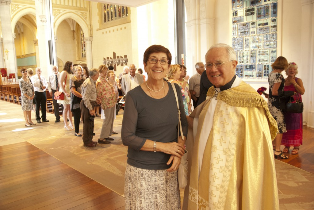 Maureen Colgan, pictured above with Mgr Michael Keating, was one of five WA Catholics who received awards as part of the Australia Day Honours List. PHOTO: ROBERT HIINI