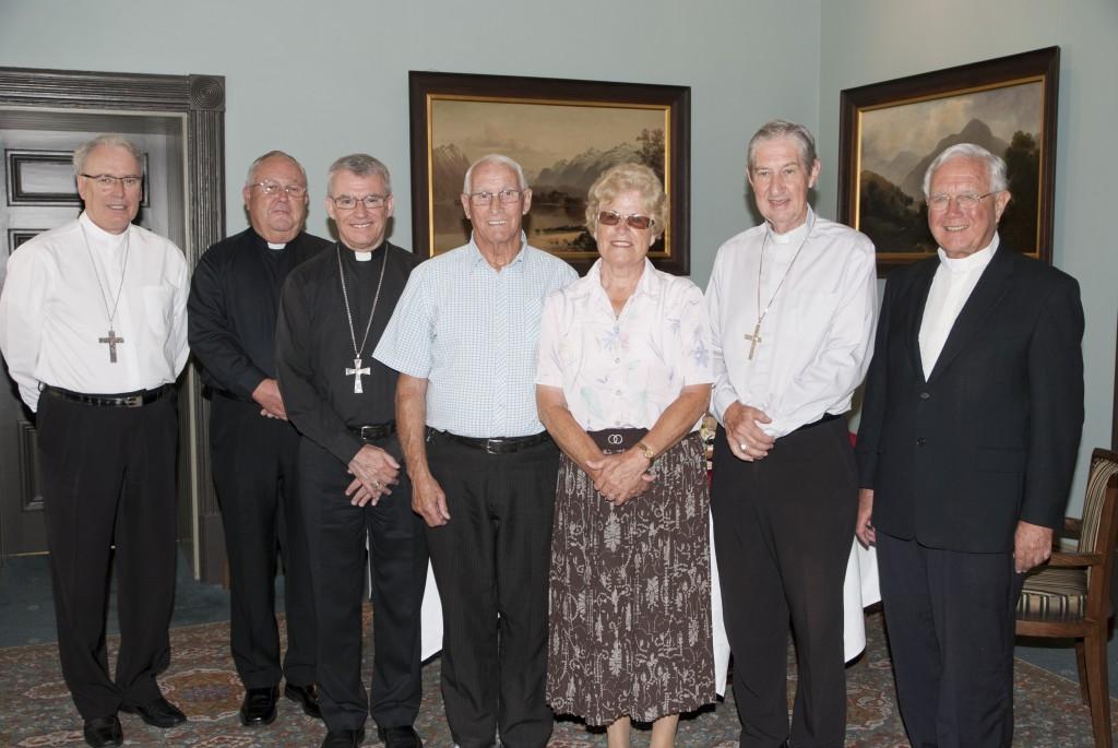 Bishop Don Sproxton, Mgr Thomas McDonald, Archbishop Timothy Costelloe SDB, Archbishop Emeritus Barry Hickey and Mgr Michael Keating with Tom and Angela Mahady. PHOTO: MATTHEW BIDDLE