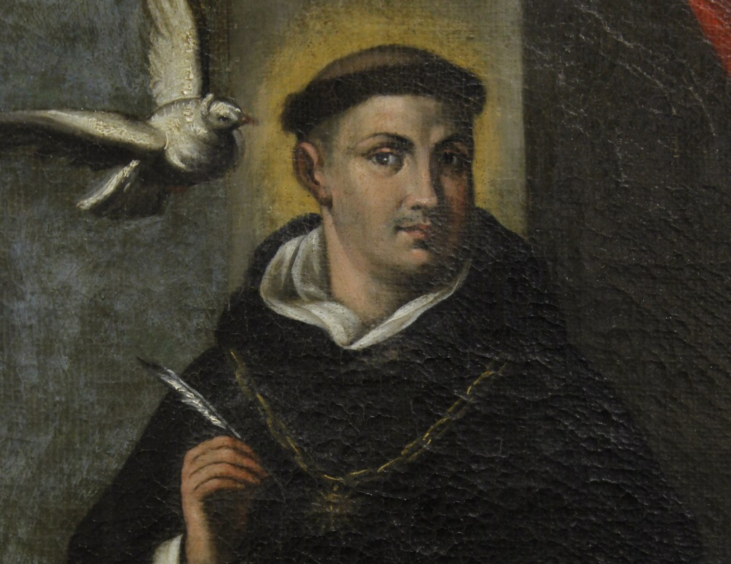 St. Thomas Aquinas is depicted in a painting at the Dominican House of Studies in Washington. The Dominican philosopher and theologian's writings set the standard for Catholic theologians. PHOTO: CNS/Nancy Wiechec