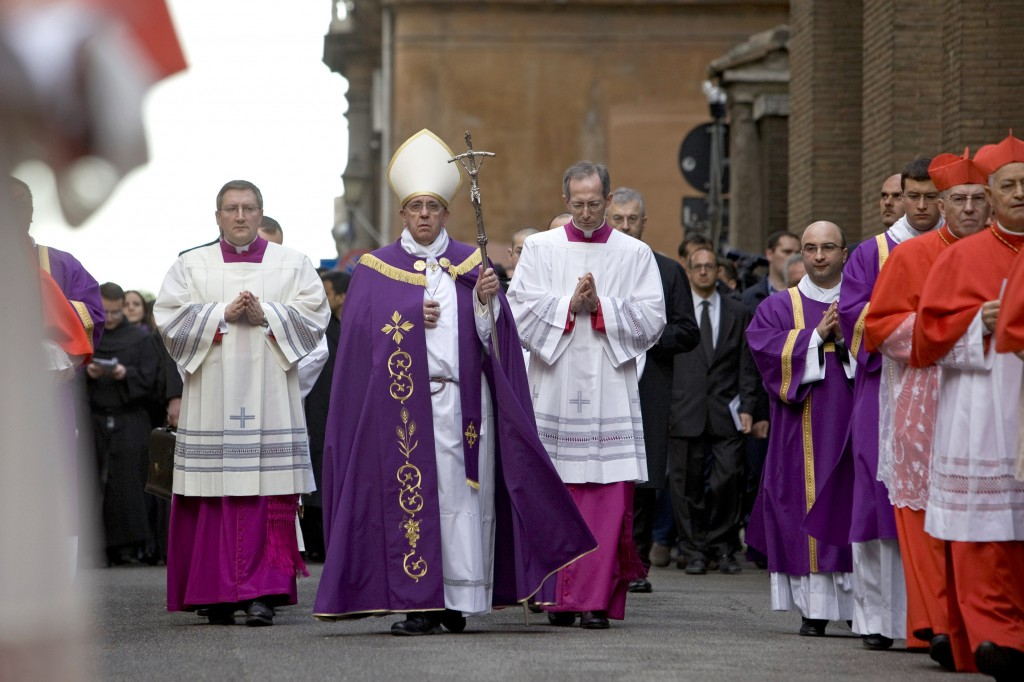 Pope Francis walks in procession to the Basilica of Santa Sabina on March 5 to celebrate the Ash Wednesday Mass in Rome. PHOTO: CNS/Maria Grazia Picciarella, pool