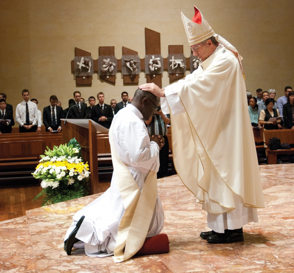 Before a sizeable and enthusiastic congregation of friends and family at St Mary's Cathedral, Zambian-born Deacon Crispin Chanda Witika was ordained a priest on March 21 by Archbishop Timothy Costelloe SDB. PHOTO: Robert Hiini