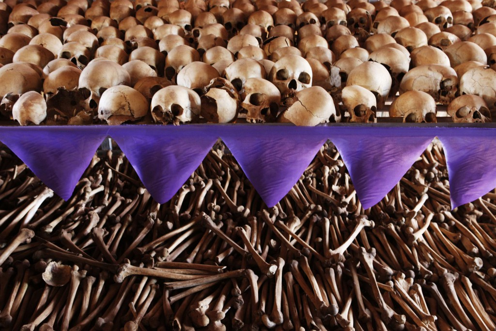 The skulls and bones of Rwandan victims rest on shelves at a genocide memorial inside a church at Ntarama, just outside the capital Kigali, in this 2010 file photo. Rwandans began an official week of mourning April 7 to mark the anniversary of the genocide, in which mostly Tutsis and some moderate Hutus, ethnic groups with a history of rivalry, were killed. PHOTO: CNS/Finbarr O'Reilly, Reuters