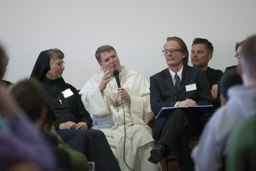 Bishop of Parramatta, Anthony Fisher OP speaking at the Tradition conference at UNDA Sydney, last year. Photo: Robert Hiini