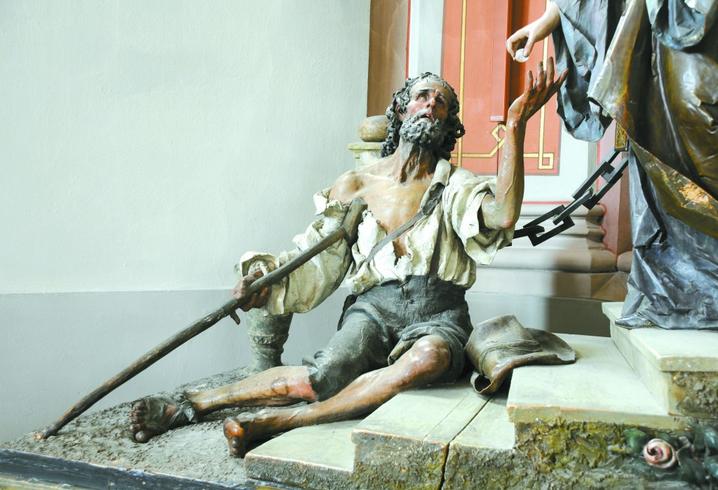 A 20th century woodcarved statue of a beggar from the group of Saint Elisabeth which was sculpted by Rudolf Moroder and polychromed by Christian Delago. PHOTO: SUPPLIED