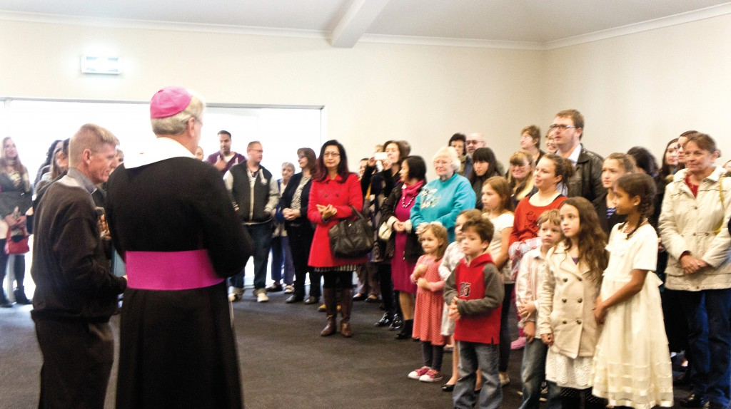 Bishop Don Sproxton blessed the new parish centre at Glendalough on June 1. PHOTO: Philomena Chandramoghan
